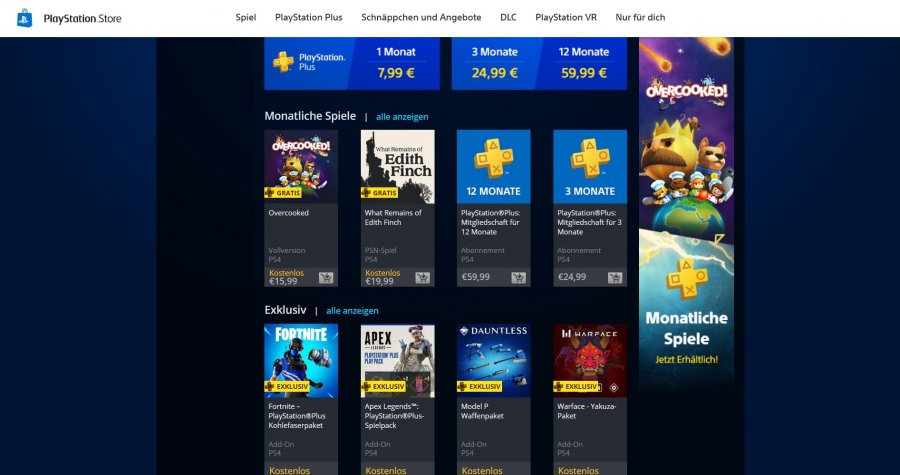 Screenshot des Playstation Store
